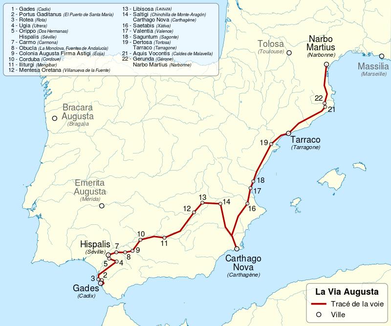 Mapa de España que muestra la Via Augusta