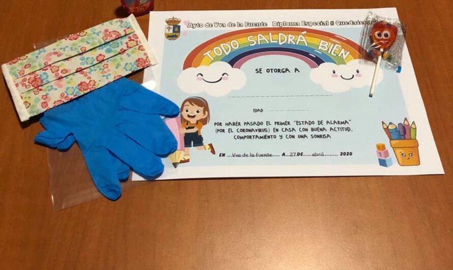 Reparto de mascarillas a los niños y  niñas de Villanueva